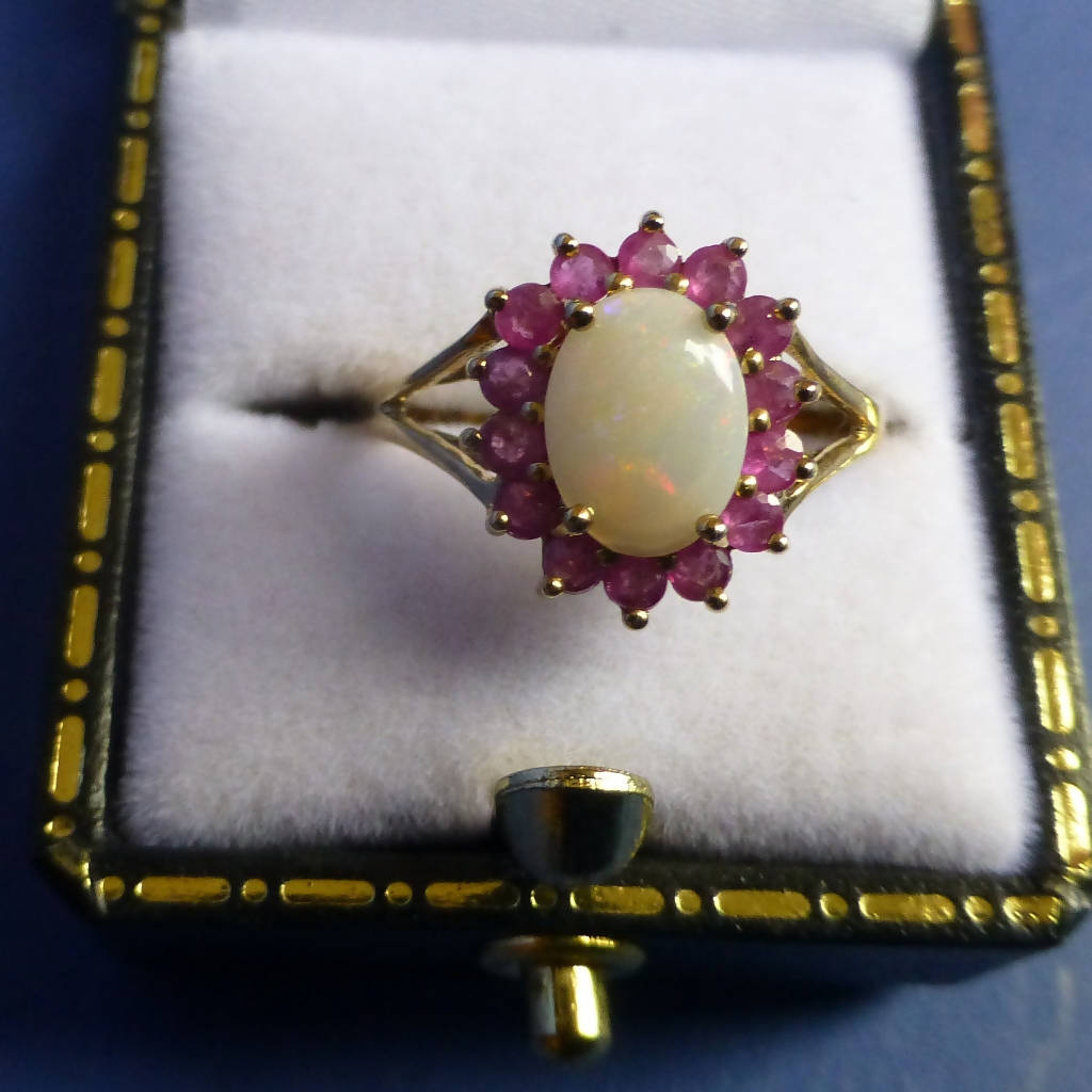 9ct Yellow Gold Ruby and Opalite Ring Size M + 1/2