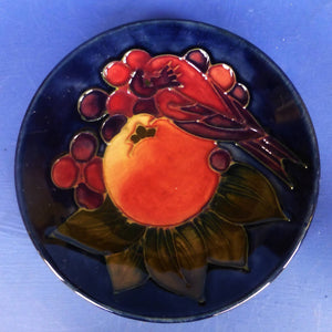 Moorcroft Tray / Coaster - Finches By Sally Tuffin