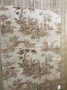 "Beautiful Antique Brown French Toile de Jouy fabric panel 26""/34"" for project"