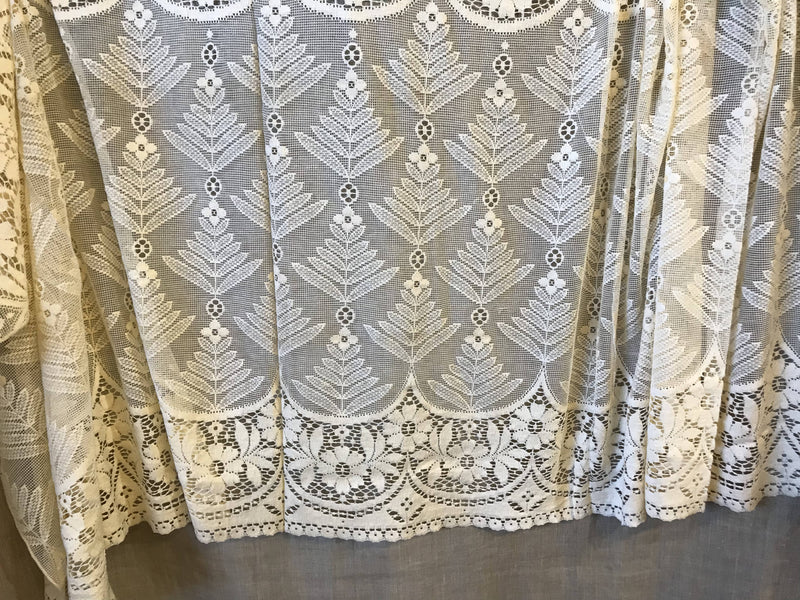 """Lucille"" beautiful vintage Scottish Cream Lace Curtain Panel 65""/36""Inches"