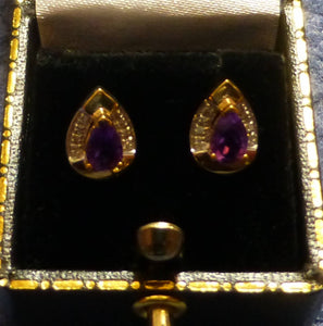 9ct Gold Amethyst and Diamond Studs