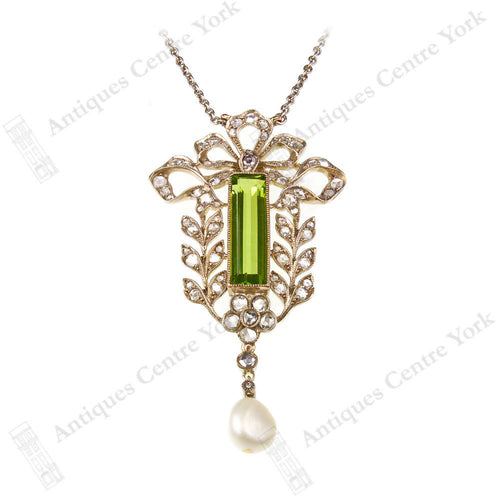Edwardian Fine Peridot, Diamond & Pearl Necklace