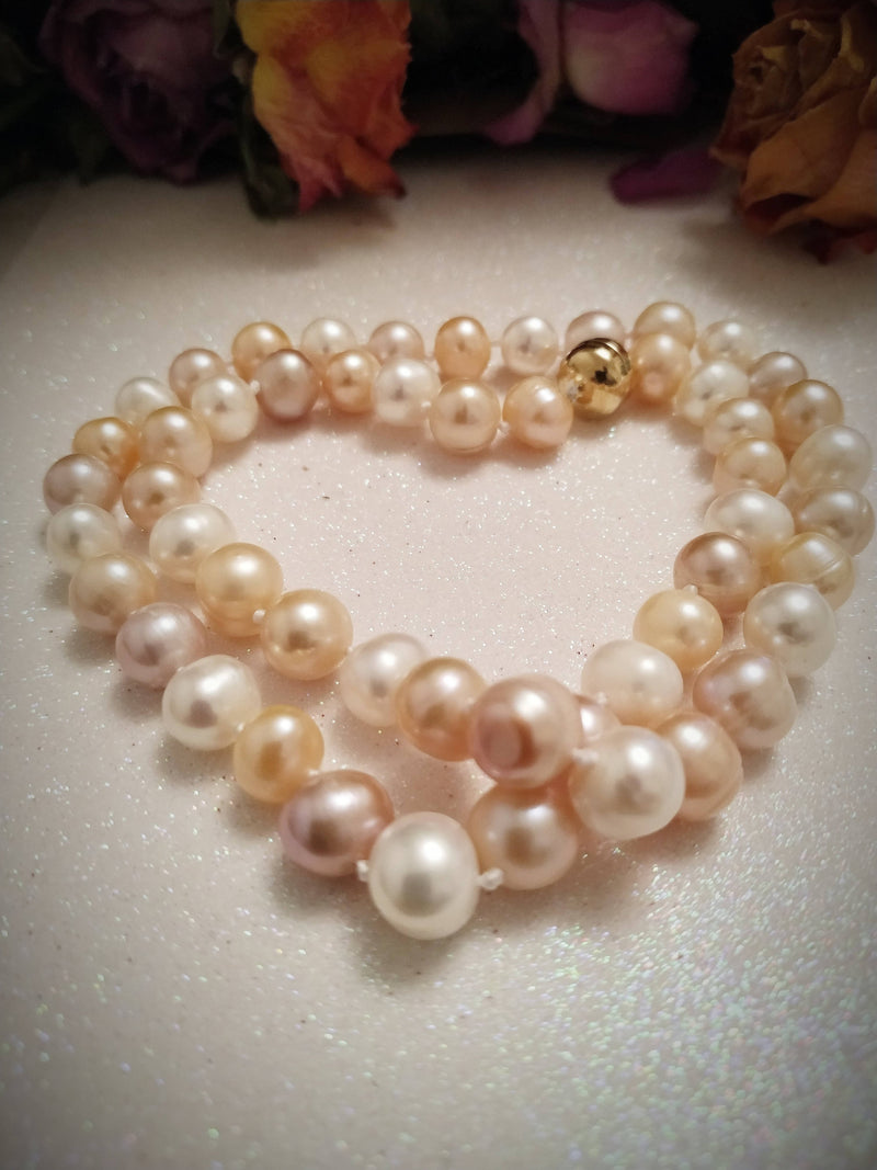 New 9K Yellow Gold Multi Colour Freshwater Pearl Necklace (Size 20) with Magnetic Lock - New and Boxed