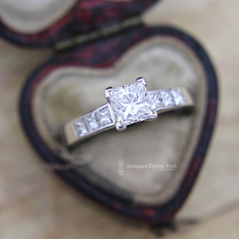 18ct White Gold Certified 1.01ct Princess Cut Diamond Solitaire