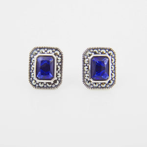 Silver Marcasite Sapphire Cubic Zirconia Stud Earrings