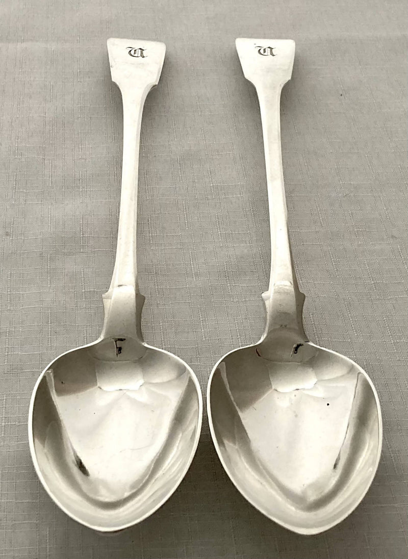 Georgian, George III, Pair of Silver Basting Spoons. London 1816 Thomas Wilkes Barker. 8.7 troy ounces.