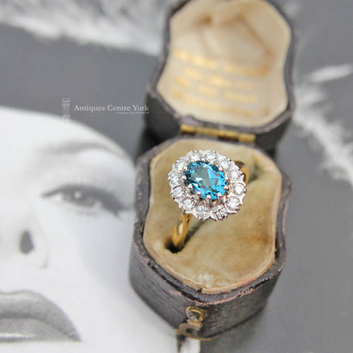 18ct Blue Topaz & Diamond Oval Cluster Ring
