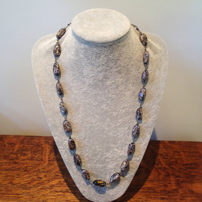 Vintage hand made glass bead necklace with gold inclusions