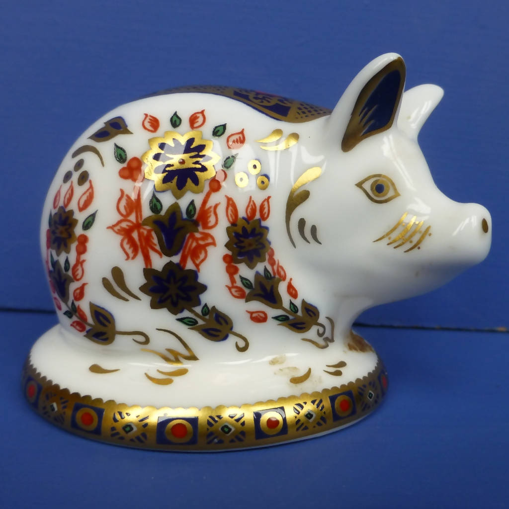 Royal Crown Derby Paperweight - Old Imari Piglet (Boxed)