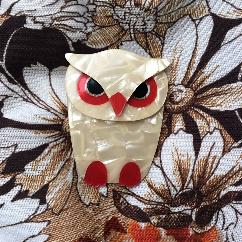 Lea Stein Owl Brooch Cream White Mother of Pearlised
