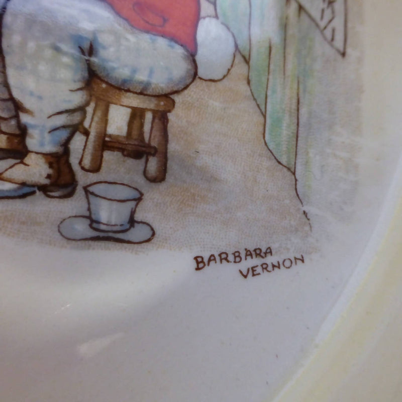 Royal Doulton Large Baby Plate / Oatmeal Signed By Barbara Vernon - Rare Design - Mrs Moppet's Tea Room