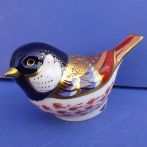 Royal Crown Derby Paperweight - Coal Tit with Gold Stopper (Boxed)