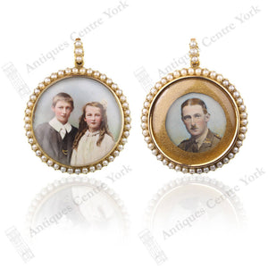 Edwardian 15ct Pearl Double Sided Open Locket Pendant