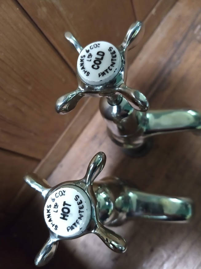 Edwardian nickel basin taps
