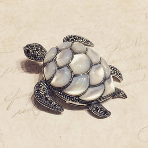 Silver Turtle Brooch Marcasite Mother of Pearl Pin Pendant