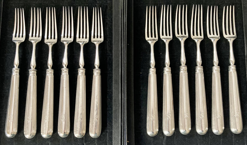 Georgian, George III, Crested Silver Dessert Knives & Forks for Twelve Persons. London 1799 & 1801 Moses Brent.