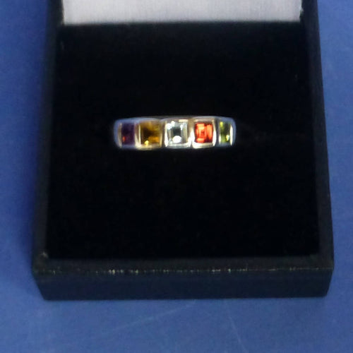 Silver Mixed Stone Channel Set Ring Size M