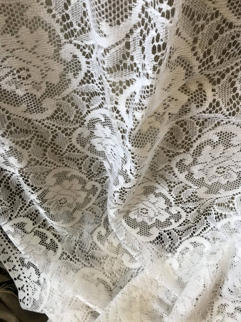 "Georgia rose White cotton lace panelling off the roll 60"" width"