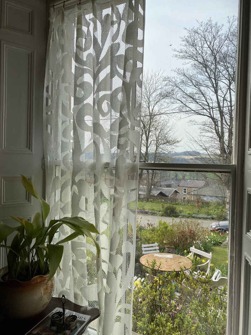 Rhoda a funky -contemporary Style cream cotton lace Curtain Panelling 150/320cms