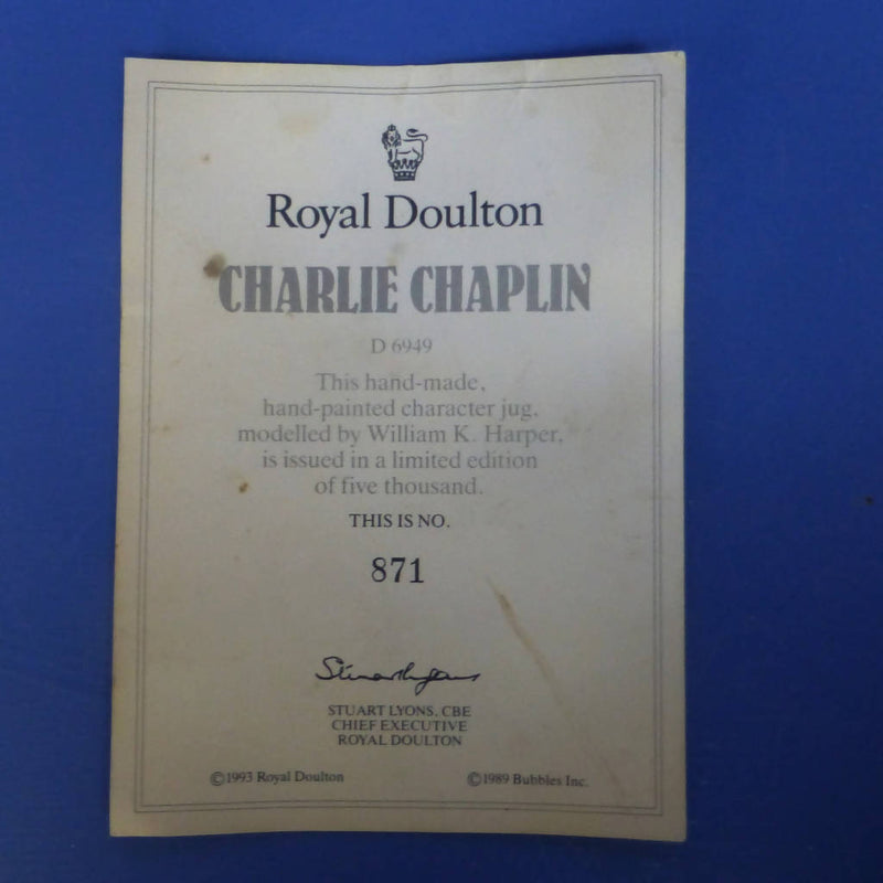Royal Doulton Large Limited Edition Character Jug Charlie Chaplain D6949