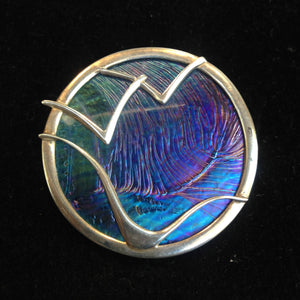 Pat Cheney sterling silver and Ditchfield art glass brooch