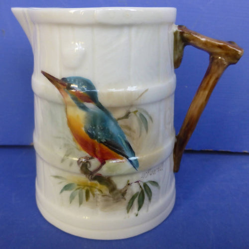 Royal Worcester Barrel Jug Kingfisher Signed By William Powell C1926