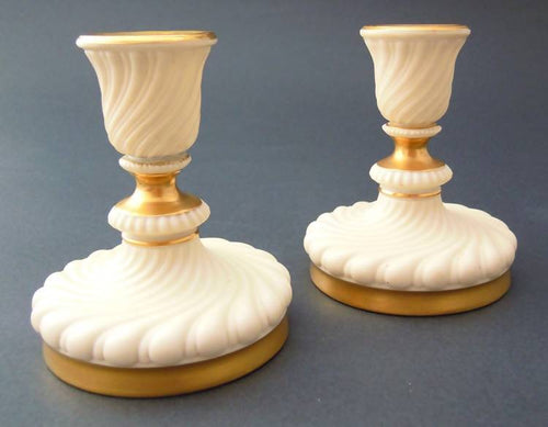 Pair antique Royal Worcester candlesticks, 1894/6