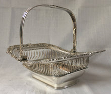 Early Victorian Sheffield Plated swing handled cake basket, circa 1850.