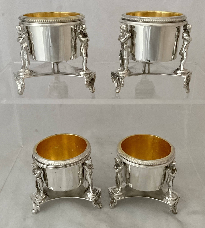 Set of Four Silver Plated & Gilded Trefoil Salts Decorated with Figures of Napoleon. R. M. Johnson & Co. Sheffield circa 1880.
