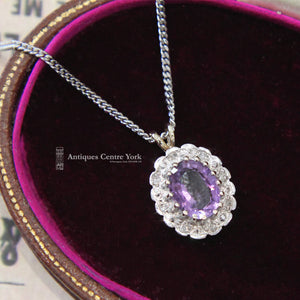 9ct Amethyst & Diamond Oval Cluster Pendant