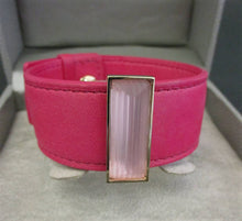 Lalique pink leather and crystal bracelet