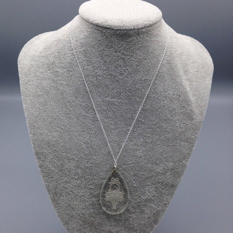 Glass intaglio pendant drop