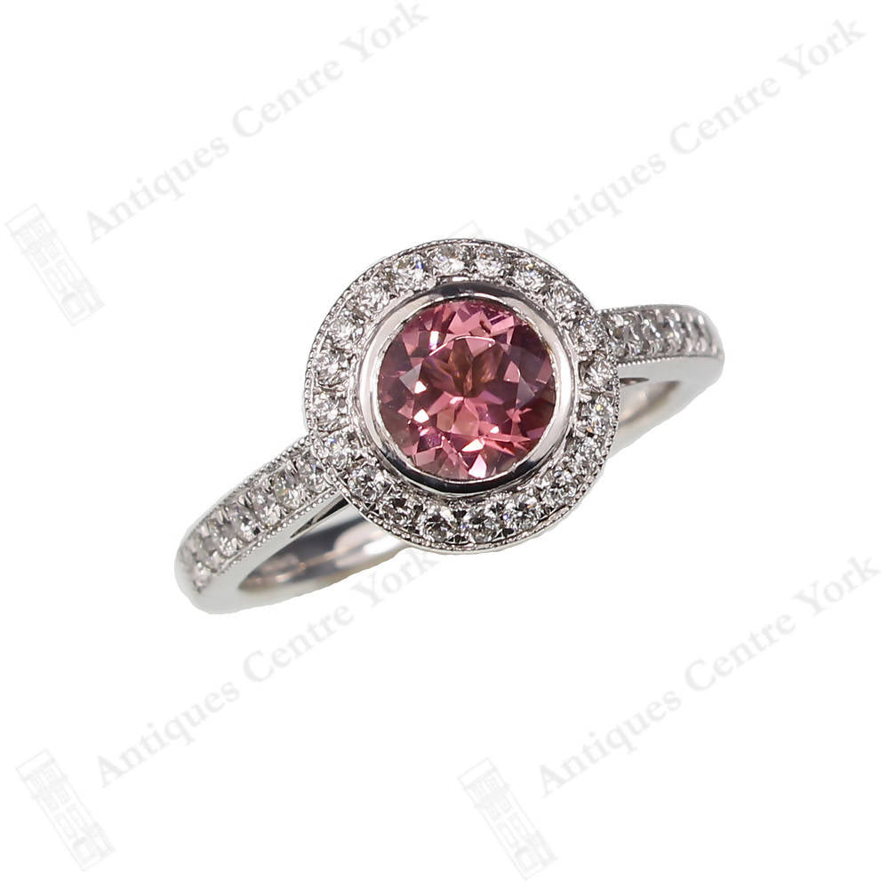 18ct White Gold Pink Tourmaline & Diamond Cluster Ring