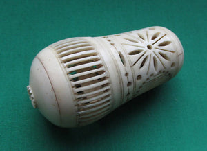 Antique Chinese Intricately Carved & Pierced Bone Cricket Cage