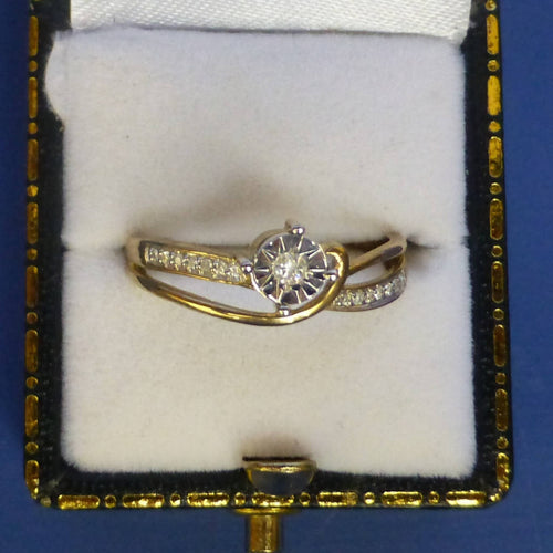 9ct Yellow Gold and Diamond Ring Size P