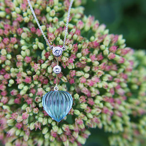 Handmade 18ct White Gold Blue Topaz & Diamond Heart Necklace