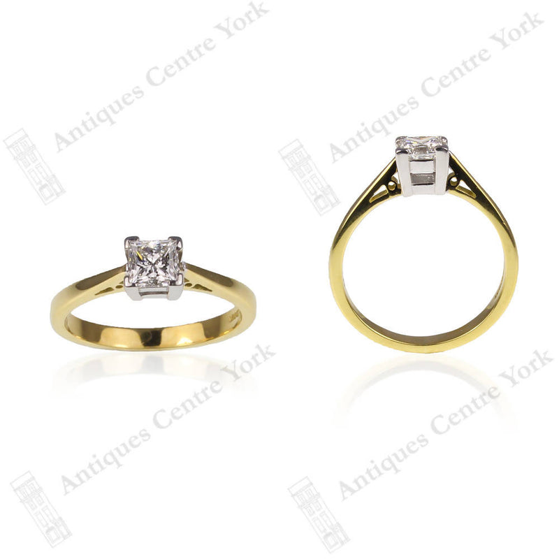 Certified 18ct Square Cut Diamond 0.51ct Solitaire Ring