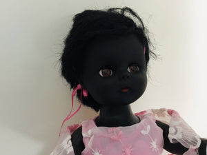 Vintage Roddy Black Doll in party dress 1960's. 12""