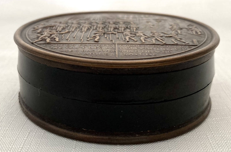 French Bronze & Bois Durci Snuff Box Depicting Guards at Versailles, circa 1840.