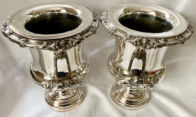 Georgian, George IV, Pair of Old Sheffield Plate Armorial Wine Coolers. Blagden, Hodgson & Co, Sheffield circa 1820.