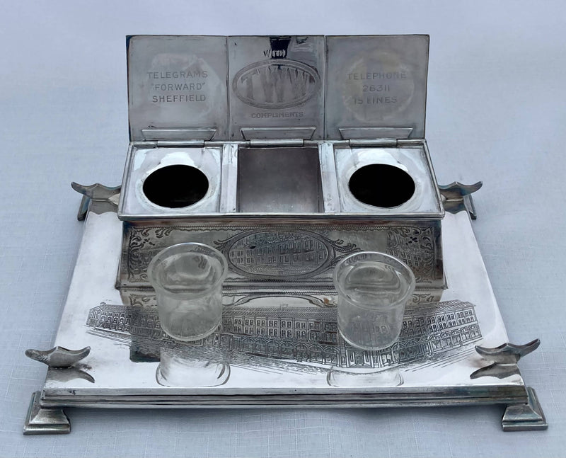 Silver Plated Advertising Inkstand for Thomas W. Ward of Albion Works, Sheffield. John Turton & Co. of Sheffield.