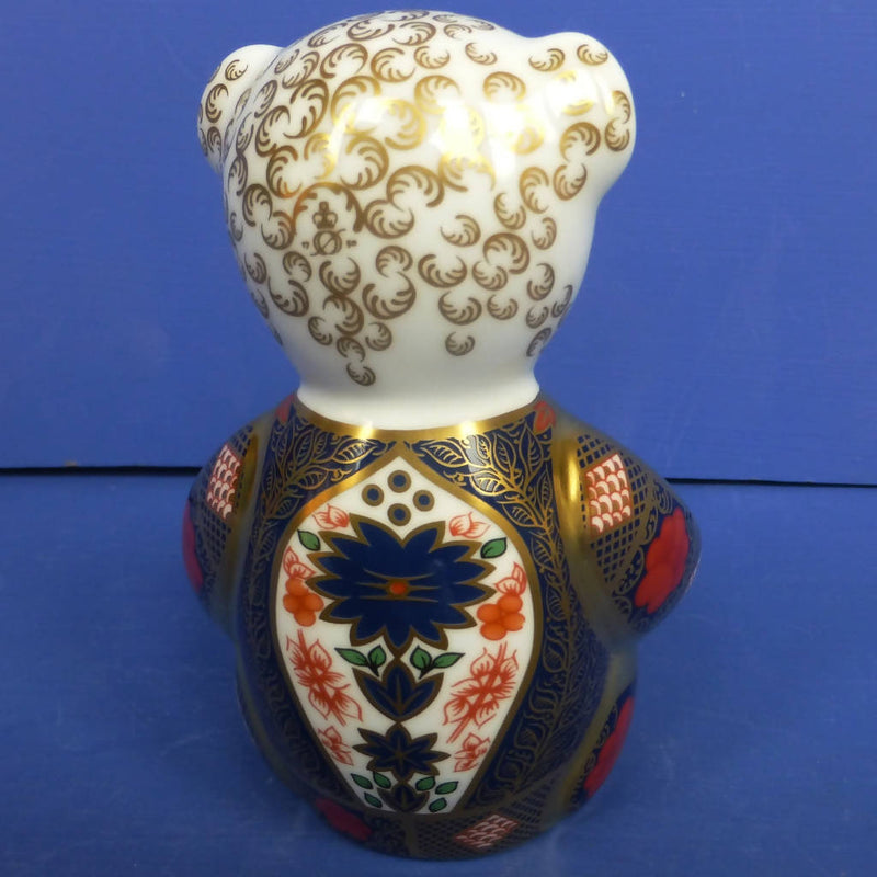 Royal Crown Derby Paperweight old Imari Solid Gold Band Teddy Bear (Boxed)