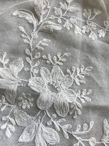 2 antique c1890 handmade tulle embroidered marriage pillow covers with mother of Pearl buttons some marks
