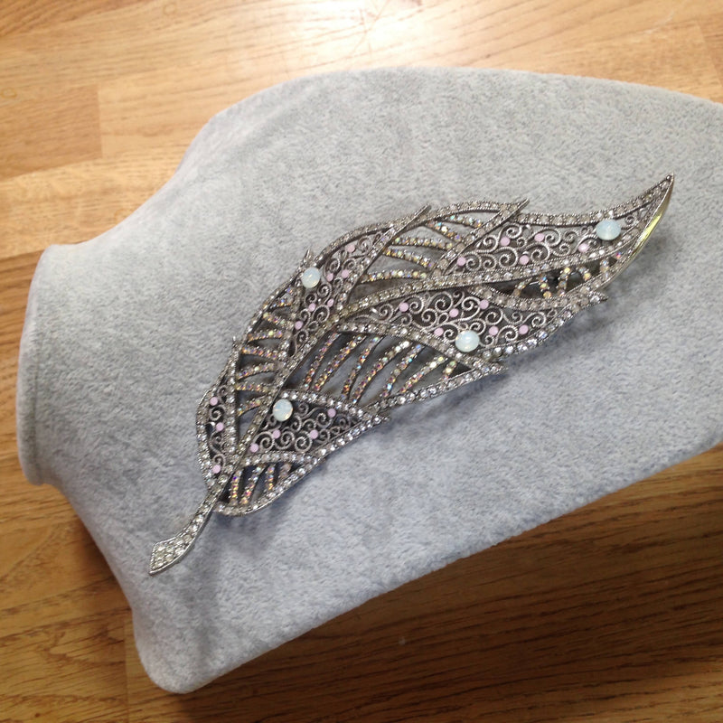 Huge rainbow diamanté leaf brooch