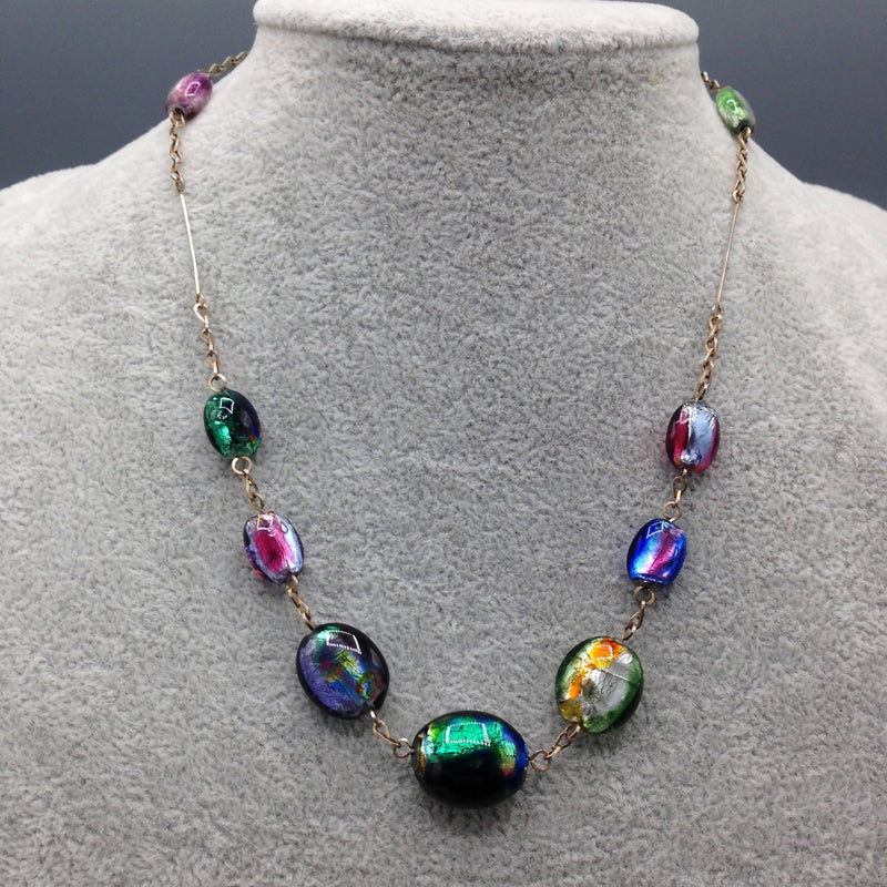 1930's foiled glass necklace