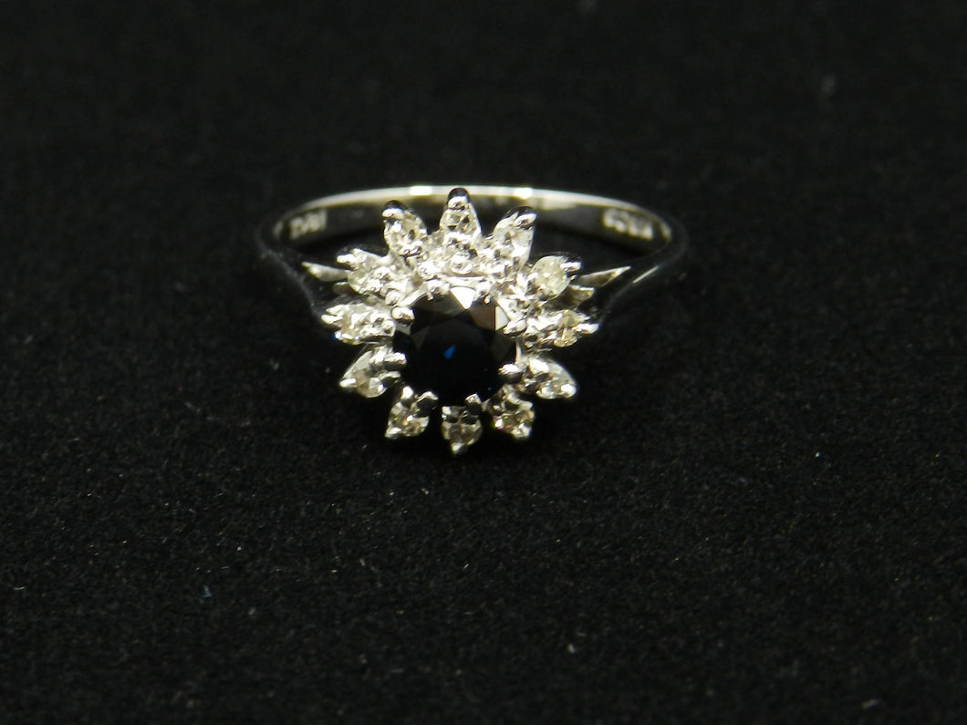 Sapphire Diamond Cluster Ring White Gold 18ct