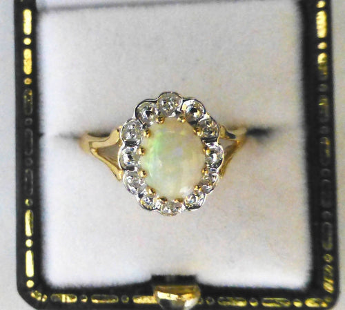 9ct Yellow Gold Opalite and Diamond Ring - Size M