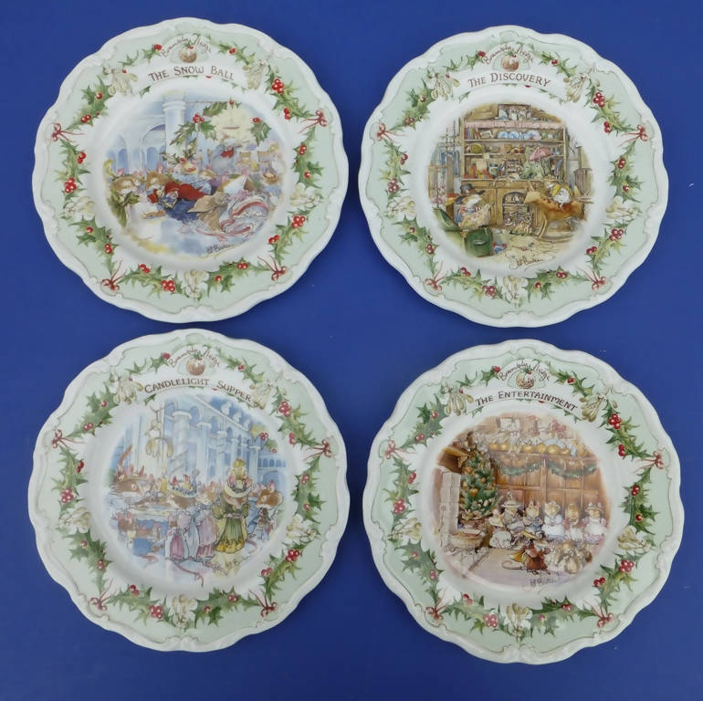 Royal Doulton Brambly Hedge Midwinter Plates - The Discovery, The Entertainment, The Snow Ball and Candlelight Supper (Set of Four)