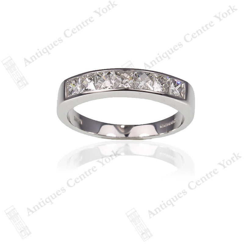 18ct White Gold French-Cut Diamond Half Eternity Ring