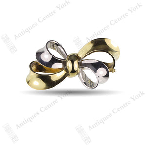14ct Two Colour Gold Ribbon Brooch